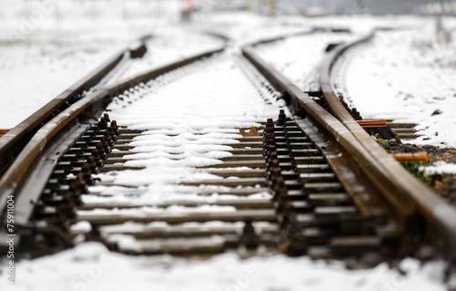 Poster Voies ferrées Railroad tracks in the snow