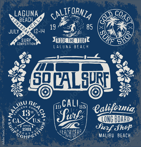 Photo  Set of Vintage Surfing Graphics and Emblems
