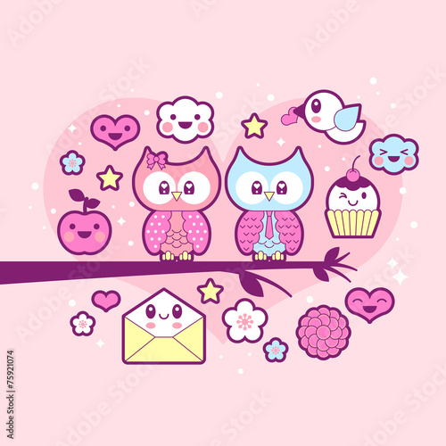 Photo  Valentine's day kawaii icon set with cute owls