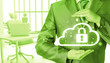 Leinwandbild Motiv Protect cloud information data concept. Security and safety of