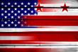 USA and Washington DC Flag on wood background