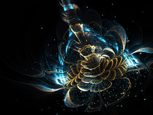 Shiny Fractal Flower, Digital Artwork