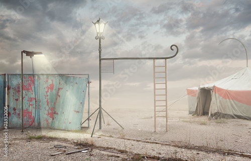 Fényképezés Surreal artistic image with lamp and  ladder with a cloudy sky