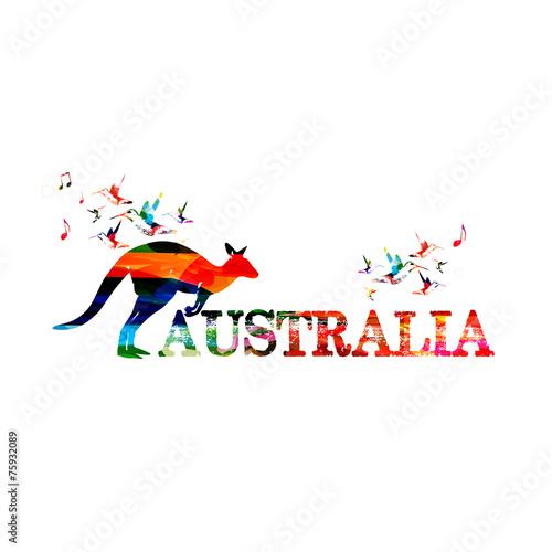 Poster Geometric animals Colorful Australia inscription with kangaroo