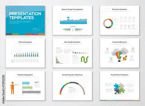 Fotografie, Obraz  Presentation slide templates and business vector brochures