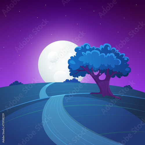 Canvas Prints Violet Night Landscape