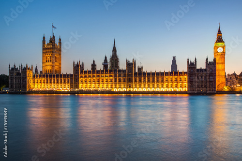 Foto op Canvas Londen London at night: Houses of Parliament and Big Ben