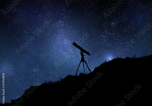 Fotografie, Obraz Starry sky with silhouette of telescope