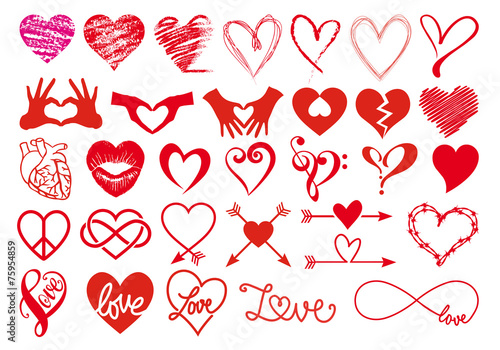 Fotografie, Obraz  Heart and love, big vector set