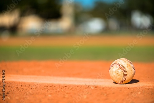 Baseball on Pitchers Mound Wallpaper Mural