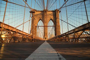 Fototapeta Vintage Brooklyn Bridge at sunrise, New York City