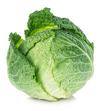 Savoy Cabbage Isolated On Whit...
