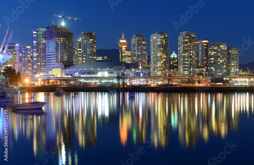 Vancouver City skyline and Rogers Arena at night, Vancouver, BC Wallpaper Mural