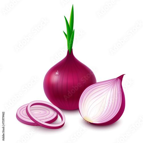 Fotografía  Red onion on white background
