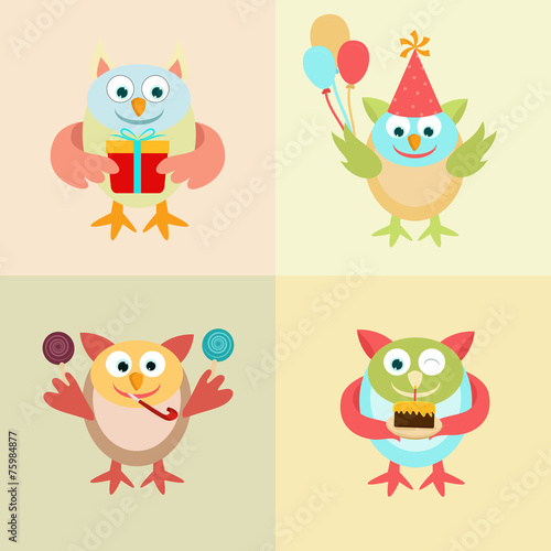 Fotobehang Schepselen Set of funny owl cartoon for Birthday.