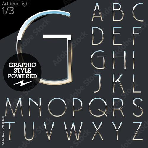 Fotografia, Obraz  Silver chrome and aluminum vector alphabet set. Artdeco