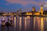 Fototapeta Londyn - Big Ben and Westminster Bridge at dusk, London, UK