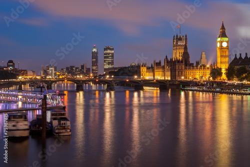 Photographie  Big Ben and Westminster Bridge at dusk, London, UK