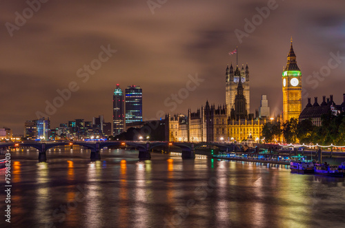 Photographie  Big Ben and Westminster Bridge at night, London, UK