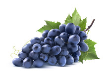 Blue Grapes Bunch With Leaf Is...