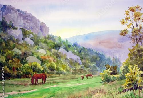 obraz PCV Horses in the valley.
