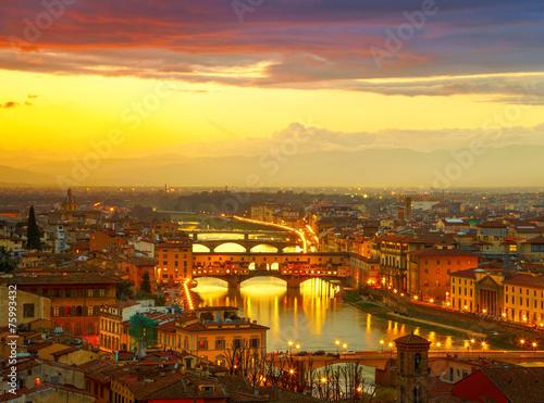 Poster Jaune Sunset view of bridge Ponte Vecchio. Florence, Italy