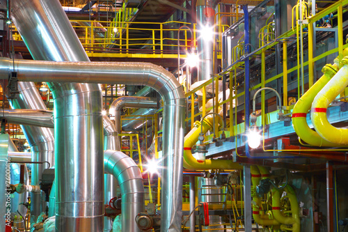 Staande foto Industrial geb. Industrial pipeline.Interior of chemical factory
