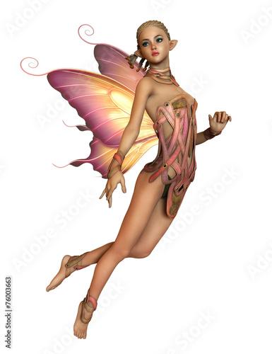 Spoed Fotobehang Kinderkamer Floating Pink Fairy, 3d CG CA