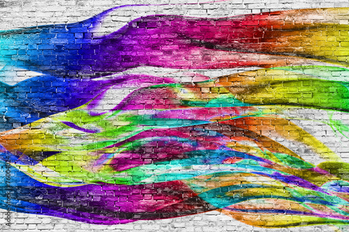 Poster Graffiti abstract colorful painting over brick wall