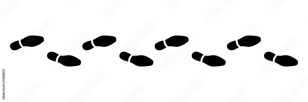 Fototapeta Spur, Schuhabdruck, Businesschuhe, Vektor, schwarz, freigestellt
