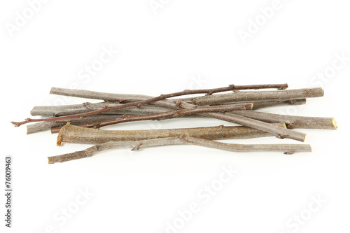 Fotografia  Plum branches over white background