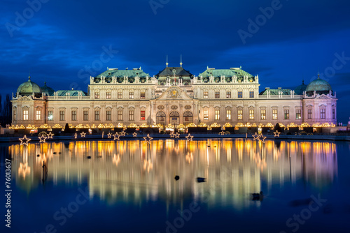 Palace Belvedere with Christmas Market in Vienna, Austria Poster