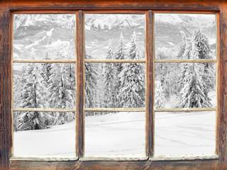 Plakat Fensterblick Winterlandschaft