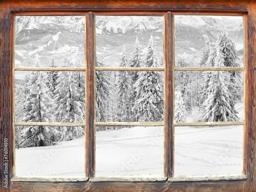 Fensterblick Winterlandschaft - 76014810