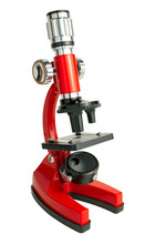 Red Microscope Isolated On White Background With Path
