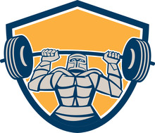 Knight Lifting Barbell Weights Shield Retro
