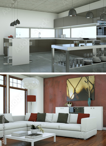 modernes Loft Interieur Design - Buy this stock illustration and ...