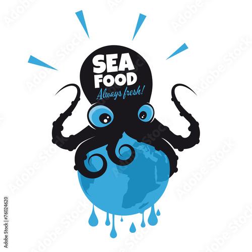 Fotografie, Obraz  oktopus kraken lustig tintenfisch