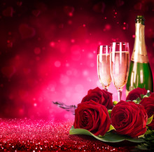 Sparkling Valentine's Day With Champagne And Roses