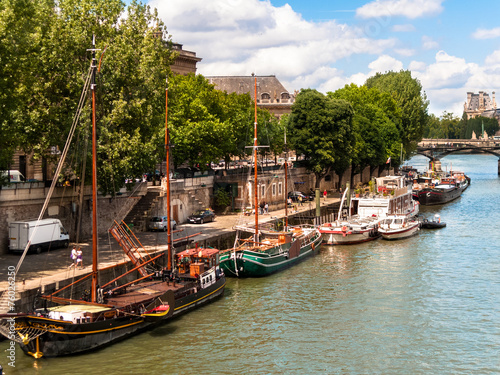 Recess Fitting North Sea Houseboats on the Seine River Paris France