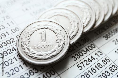 Fotografía  Polish zloty coins, close up