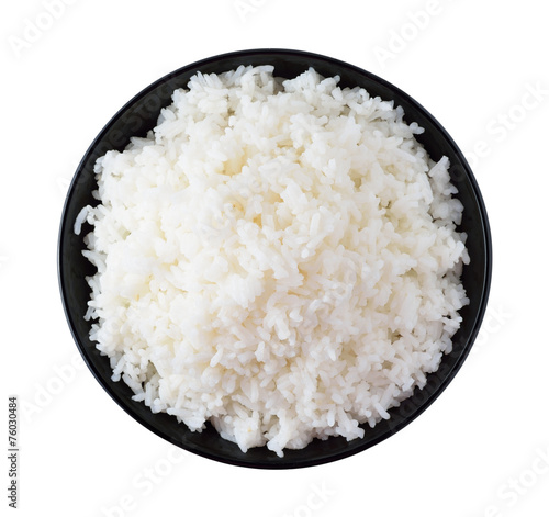 Fotografie, Obraz  Rice in a bowl on a white background