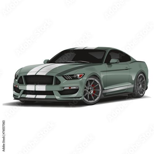 Foto op Aluminium Cartoon cars Voiture de sport-vert