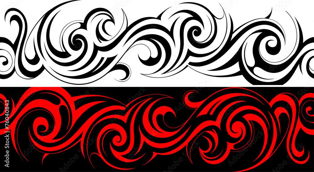 Fototapeta Seamless tribal tattoo pattern line