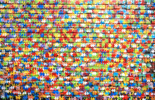 Spoed Fotobehang Psychedelic Background color of street graffiti on a brick wall