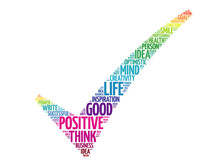 Positive Thinking Check Mark, Vector Concept Words Cloud