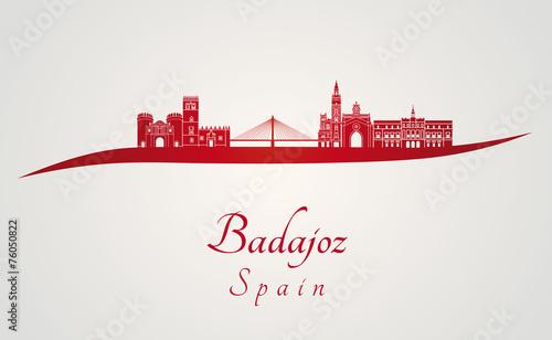 Badajoz skyline in red