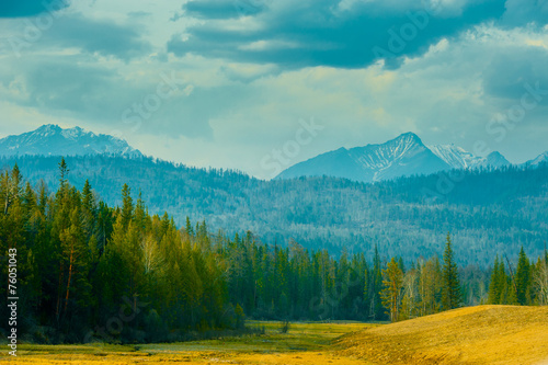 Recess Fitting Mountains Beautiful spring landscape of the Western Sayan mountains