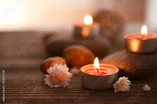 Poster Spa Composition of spa treatment on wooden background