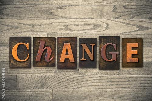 Fotografie, Obraz  Change Concept Wooden Letterpress Type